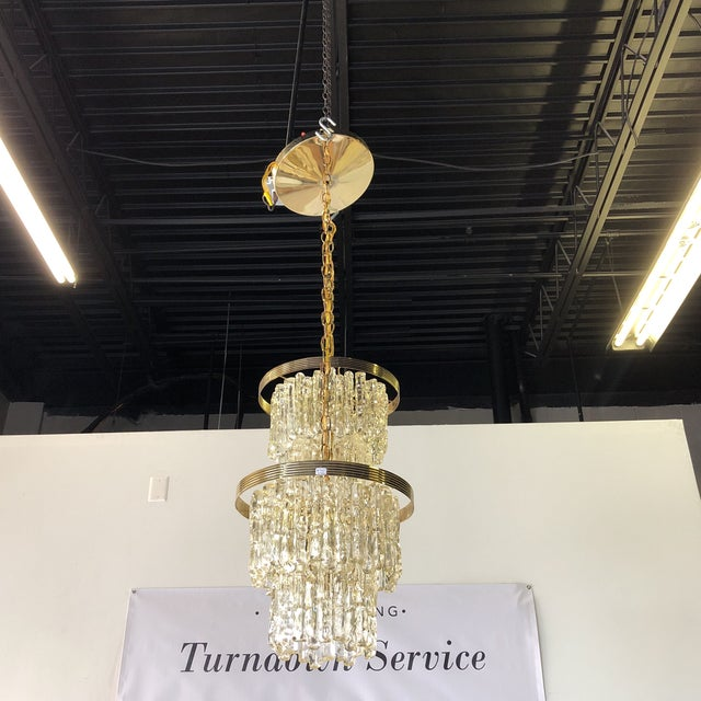 """Vintage """"icicle"""" pendant light. Each pendant light has 4 lights, for a total of 8. Individual pendant measures: 13"""" high..."""