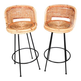 Vintage Swivel Woven Rattan Bar Stool, 1960s - A Pair For Sale