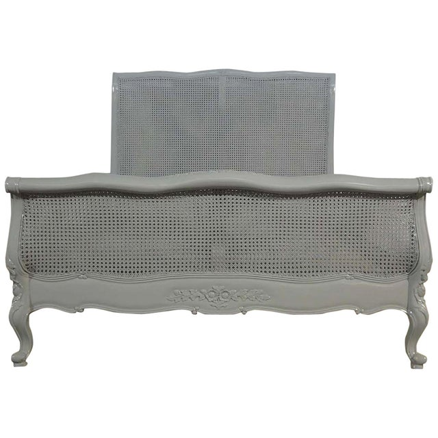 French Farmhouse Style Grey Cane Queen Bed - Image 1 of 2