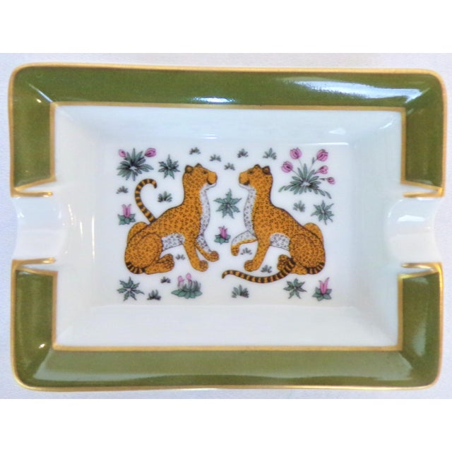 French Vintage Hermes Porcelain Les Leopards Ashtray / Catchall For Sale - Image 3 of 10