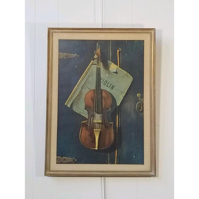 Paint Vintage Print of a Violin and Sheet Music For Sale - Image 7 of 8
