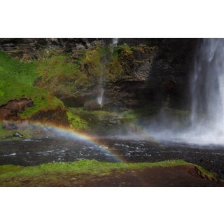 """Icelandic Waterfall and Rainbow Pastoral Photograph Unframed 40"""" X 60"""" For Sale"""