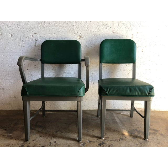 A pair of 1960s and 1970s Office/Industrial Upholstered Chairs by Techfab Furniture Missouri. These are well-made...