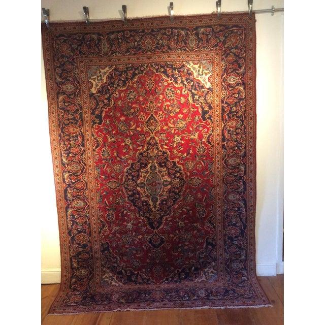 Vintage Oriental Kashan Hand Made Rug - 6′6″ × 9′8″ - Image 2 of 7