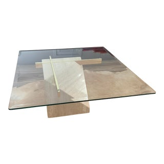 Artedi Brass & Glass and Travertine Cocktail Table For Sale