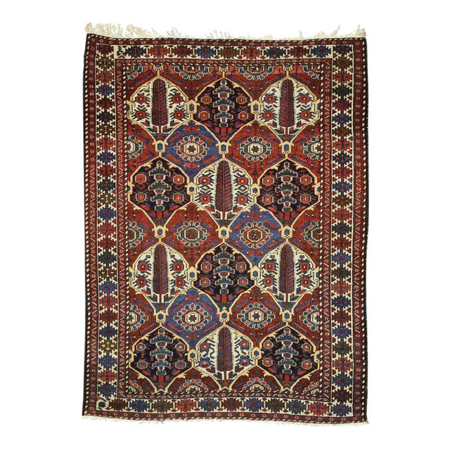 Antique Persian Bakhtiari Rug with Four Seasons Garden Design For Sale