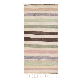 """Mid 20th Century Moroccan Rag Rug - 4'8"""" X 9'1"""" For Sale"""