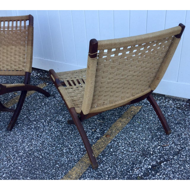 Hans Wegner Hans Wegner Style Folding Rope Chairs - a Pair For Sale - Image 4 of 9
