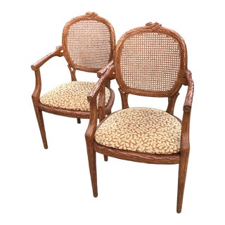 French Style Carved Wood Cane Armchairs - A Pair