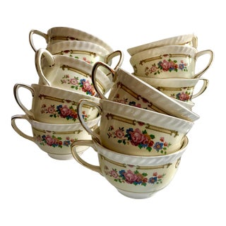 Antique Johnson Brothers Old English Punch Bowl Tea Cups - Set of 13