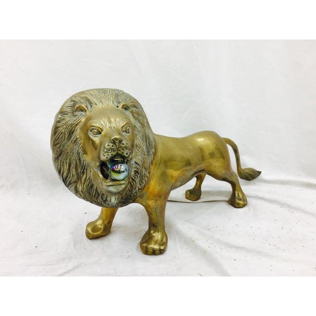 Mid-Century Modern Vintage Brass Lion Sculpture For Sale - Image 3 of 10