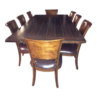 Farmhouse Dining Table & Leather Chairs