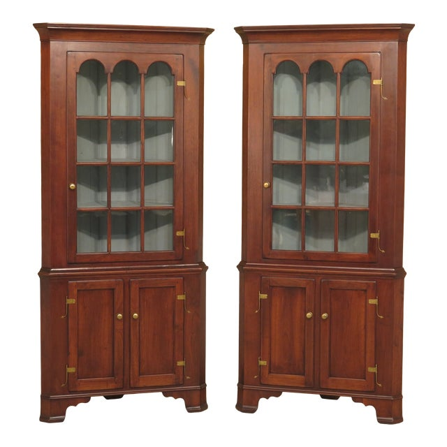 1970s Chippendale Walnut Corner Cabinets - a Pair For Sale