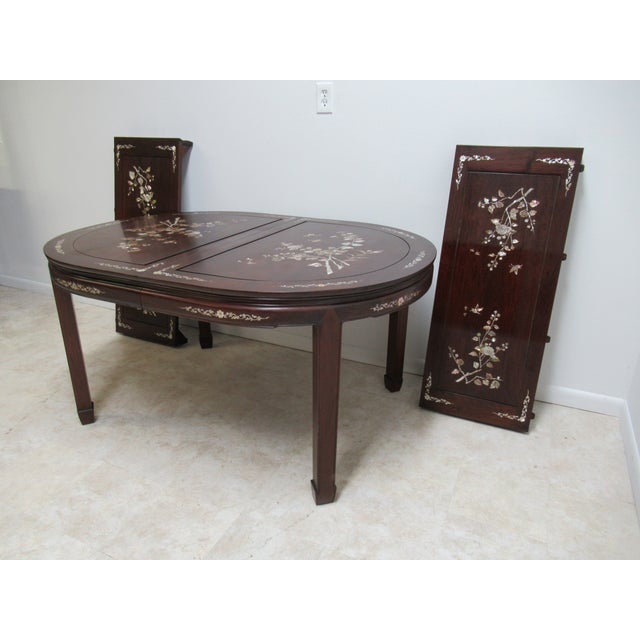 Asian Vintage Rosewood Chinese Chippendale Mother of Pearl Dining Room Banquet Table For Sale - Image 3 of 11