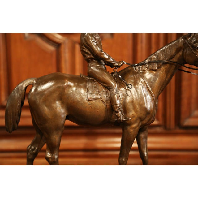 19th Century French Bronze Racehorse and Jockey Sculpture Signed Paul Comolera For Sale - Image 10 of 13