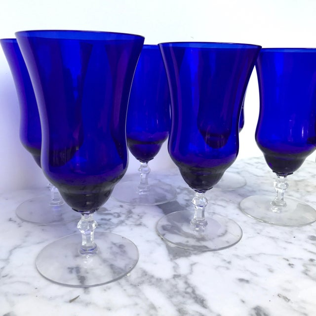 Vintage Cobalt Blue Wine Glasses - Set of 6 - Image 5 of 6