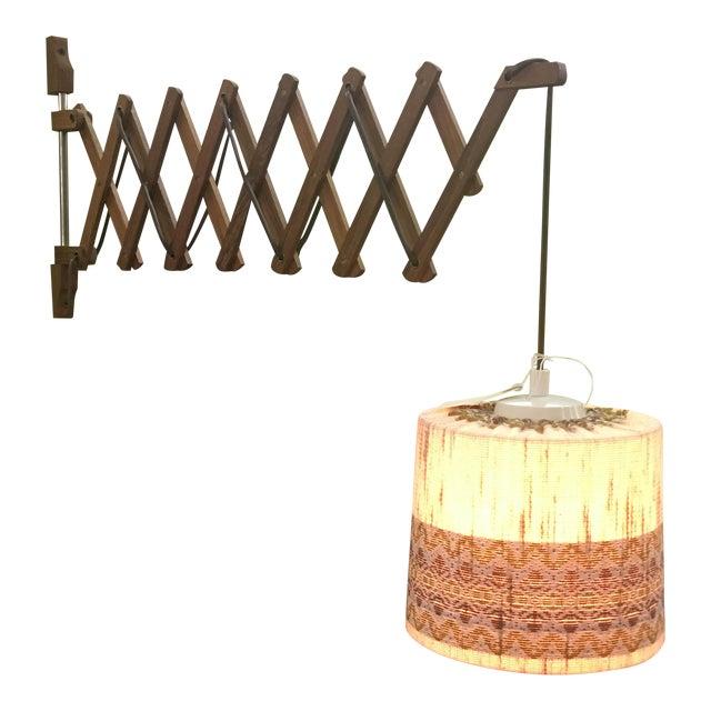 Vintage Teak Swing Arm Scissor Lamp - Image 1 of 5