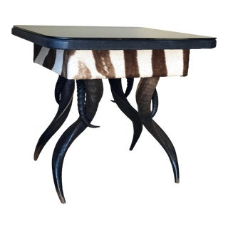 1990s African Zebra Hide and Kudu Horn End Table For Sale