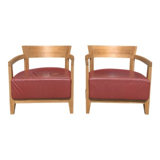 1940s French Art Deco Cerused Oak Club Chairs - a Pair For Sale