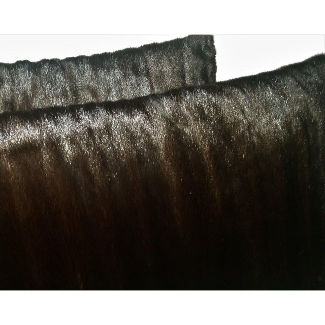 2010s Contemporary Dark Brown Almost Black Mink Pillows - a Pair For Sale - Image 5 of 7