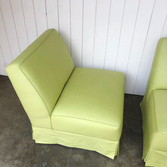 Vintage Custom Made Skirted Lounge Chairs in New Chartreuse Fabric - a Pair For Sale In Portland, OR - Image 6 of 11