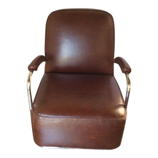 Mitchell Gold Dean II Art Deco Leather & Chrome Chair For Sale