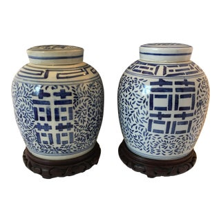 Chinoiserie Blue & White Ginger Jars With Stands - A Pair