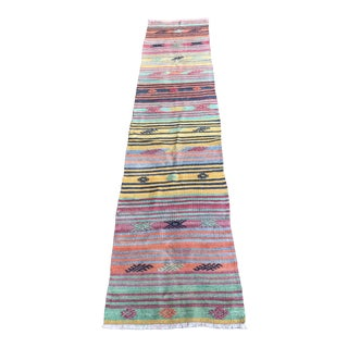 "1960's Vintage Turkish Striped Kilim Runner-2'2'x9'4"" For Sale"