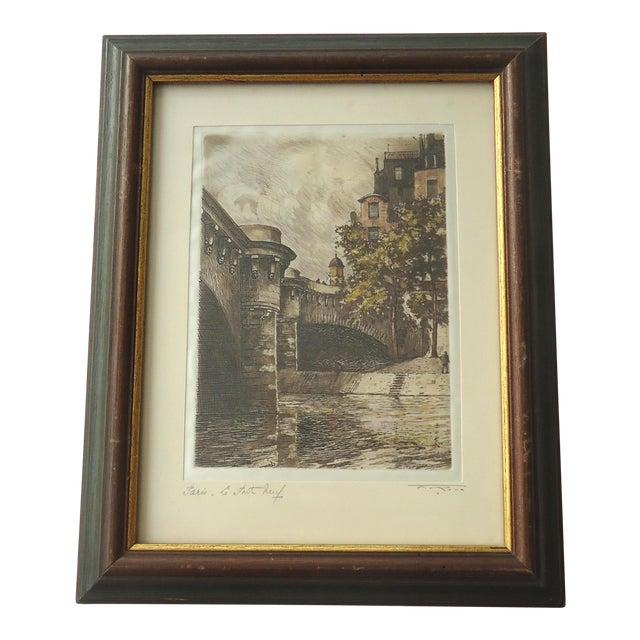 Vintage Pont Neuf Paris Etching For Sale