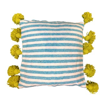 Blue & Lime Pompom Pillow Cover For Sale