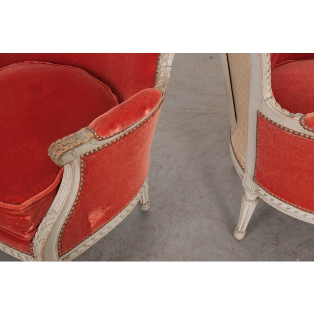 Orange French 19th Century Louis XVI Style Bergères -A Pair For Sale - Image 8 of 12