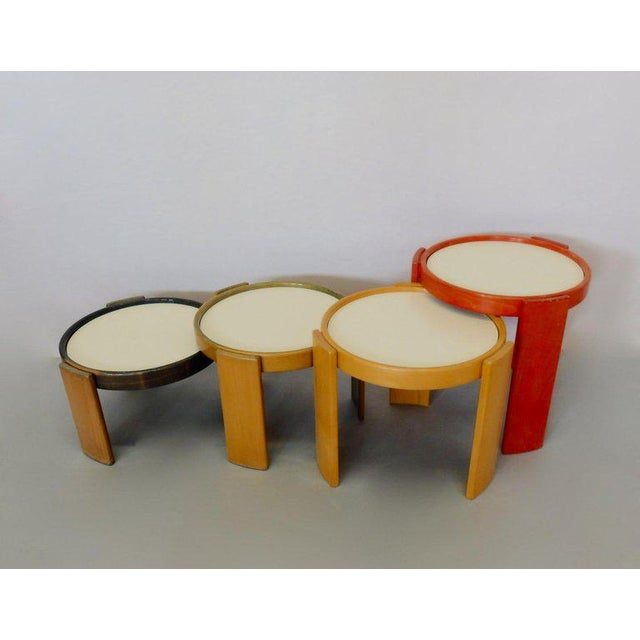 Early Production Gianfranco Frattini for Cassina Flip Top Nesting Tables - Set of 4 For Sale In Detroit - Image 6 of 12