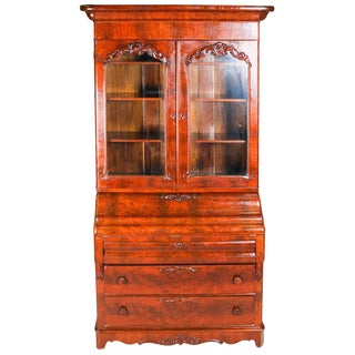 Antique American Empire Flame Mahogany Carved Slant Front Secretary 19th Century For Sale