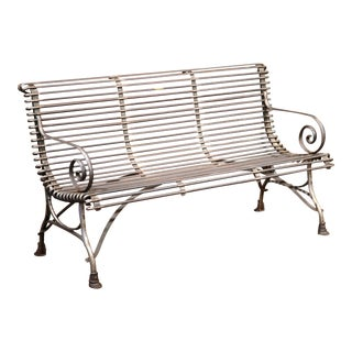 French Polished Iron Bench with Scrolled Arms and Hoof Feet Signed Sauveur Arras