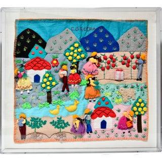 """1980s """"Harvest"""" Framed Needlework Folk Art For Sale"""