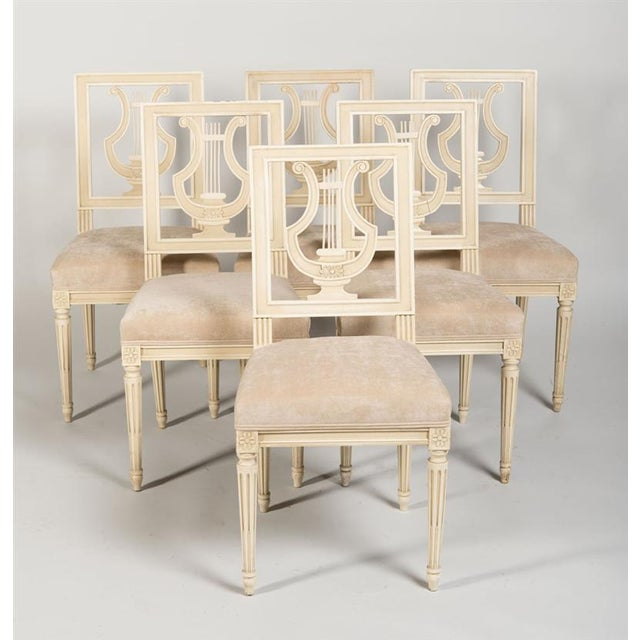 1960s Jansen French Louis XVI Suede Upholstered Dining Chairs - Set of 6 For Sale - Image 5 of 5