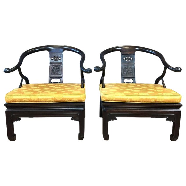 Chinese Rosewood Horseshoe Chow Chairs, 1920s - A Pair For Sale