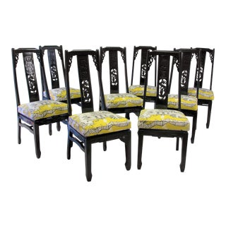 Set of 8 Chinoiserie &Thibaut Luzon Dining Chairs For Sale