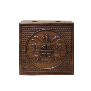 Chinese Huali Rosewood Light Brown Square Motif Handcrafted Storage Box For Sale