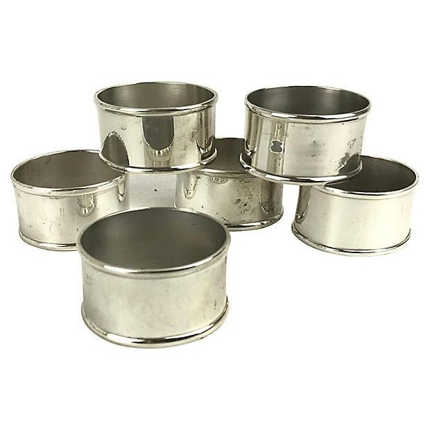 Silverplate Oval Napkin Rings - Set of 6 For Sale - Image 4 of 4