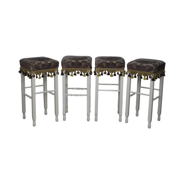 White Bar Stools w/ Upholstered Seats - Set of 4 For Sale - Image 11 of 11