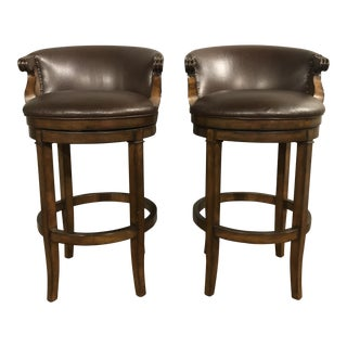Wooden Fluted Bar Stools - a Pair For Sale