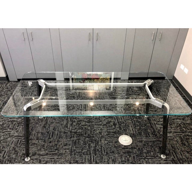 Contemporary Daniel Korb Contemporary Glass and Aluminum Writing Desk For Sale - Image 3 of 4