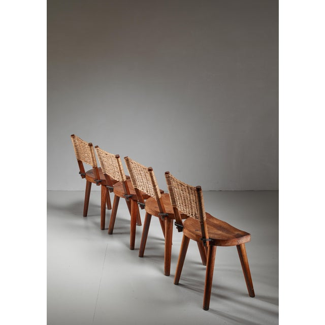 Mid-Century Modern Jean Touret Set of Four Oak and Cane Dining Chairs for Marolles, France, 1950s For Sale - Image 3 of 5