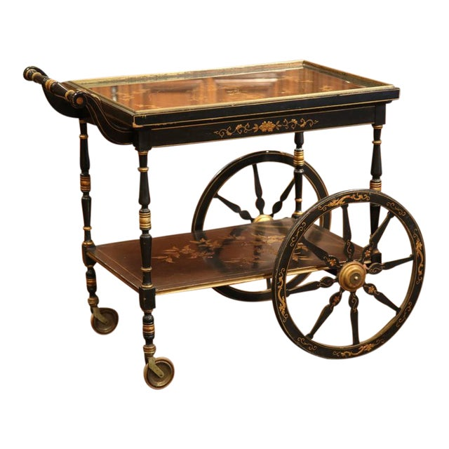 Early 20th Century French Chinoiserie Hand Painted Bar Cart - Image 1 of 10