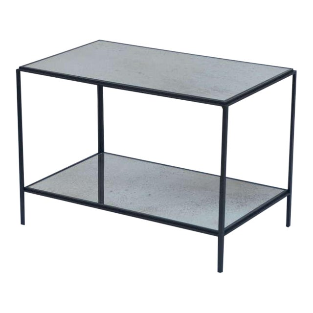 Pair of chic wrought iron and mirror end tables. Great as sofa end tables or as a two part coffee table. Bottom shelf is 4...