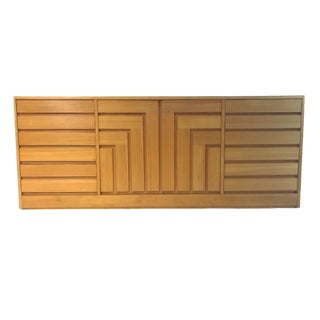 1970s Founders Furniture Geometric Cubist Front Blonde Credenza Chest For Sale