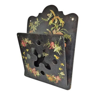 Victorian Tole Painted Papier Mache Wall Mounted Letter Holder For Sale