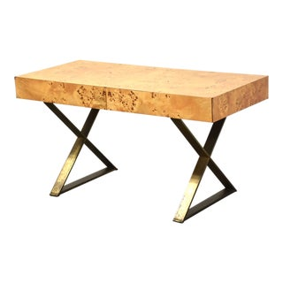 Burl and Patinated Brass Desk by John Stuart For Sale