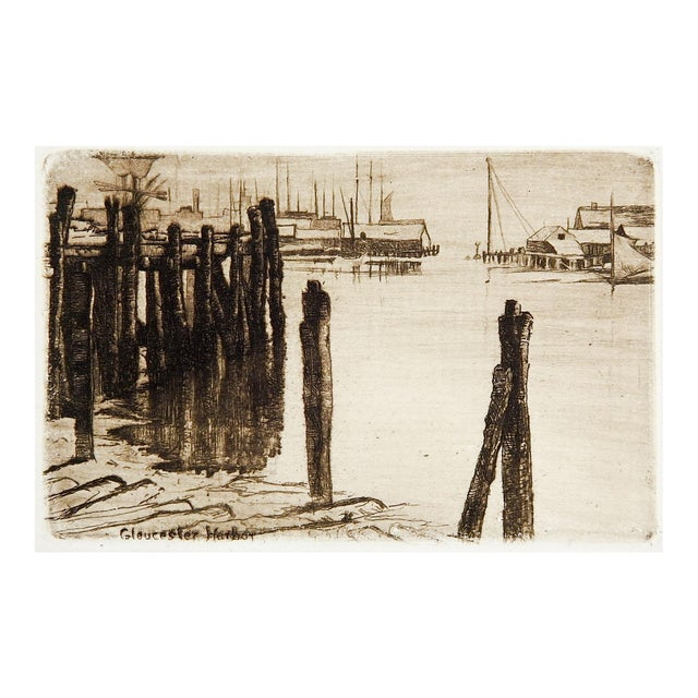 Tiny Etching of Glouchester Harbor - Image 1 of 3